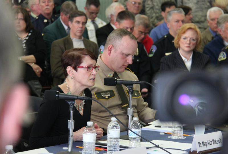Mary-Alice Mackenzie, the executive director of Burlington's Boys & Girls Club testified as Vermont State Police Colonel Thomas L'Esperance listened in.