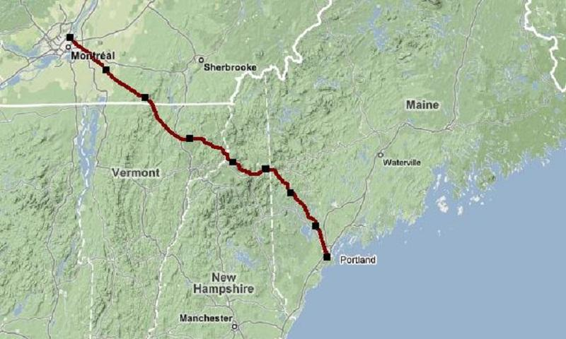 A map shows the potential route for oil from Canada to Maine.