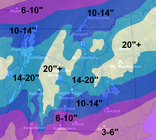 Those are some pretty big numbers. Updated expected snowfall totals as of 6:30 a.m. March 12.