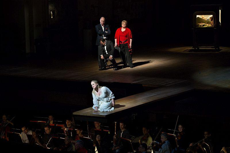 "Diana Damrau as Amina with Javier Camarena as Elvino, Michele Pertusi as Rodolfo, and Elizabeth Bishop as Teresa in Bellini's ""La Sonnambula."""