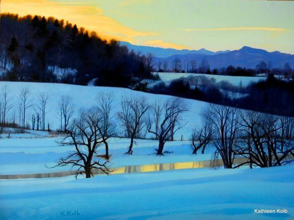 """Winter River"" by Kathleen Kolb is part of the new ""Landscapte Traditions"" wing at Stowe's West Branch Gallery."