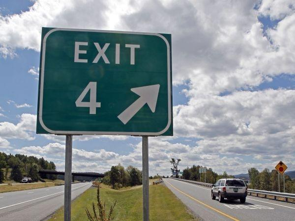 Traffic flows off Interstate 89 at Exit 4 in Randolph Tuesday. A developer detailed his proposal for a visitor's center and Vermont products showcase to the legislature's Joint Transportation Oversight Committee.