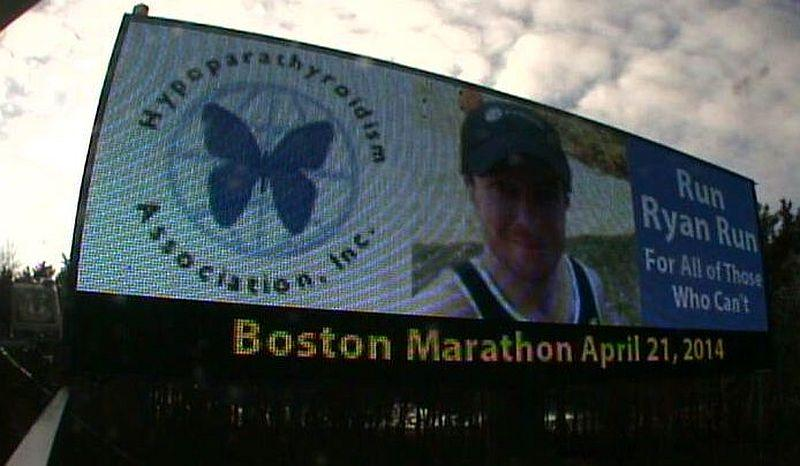 A billboard by the Hypoparathyrodism Association, Inc. in Manchester, NH cheers for Vermonter Ryan Polly.