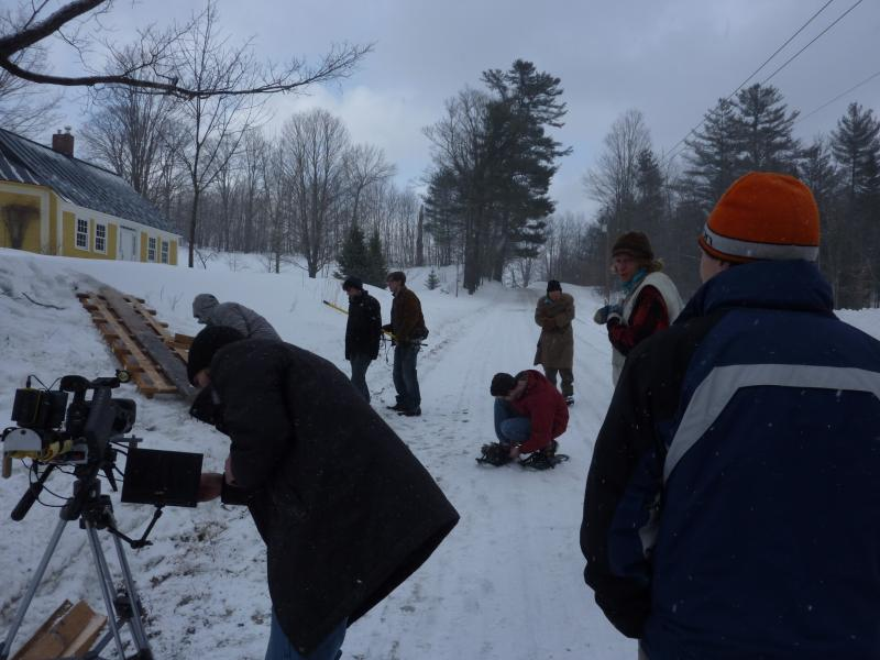 Team Now Shooting working on their short film in Montpelier on March 24 on deadline for the 48 Hour Film Slam competition sponsored by the Green Mountain Film Festival.