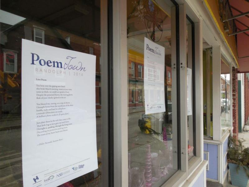 Dozens of Randolph businesses are displaying work of local poets as part of Poem Town.