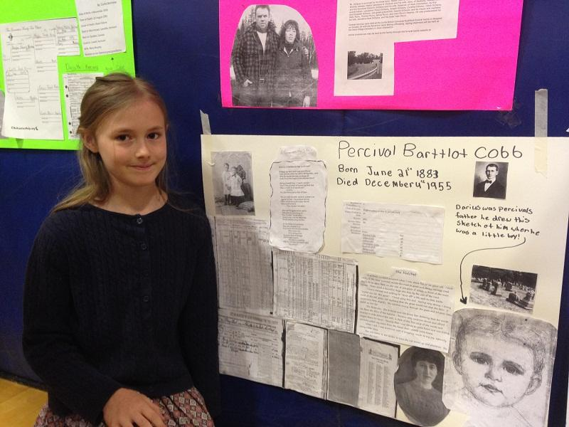 Daisy Beckwith greeted visitors to her exhibit at the Storykeepers presentation at the Lowell School.
