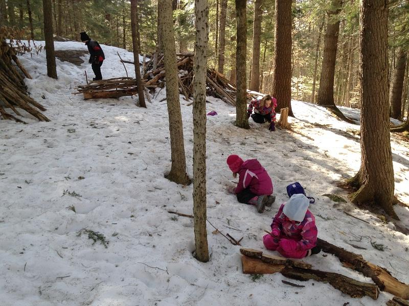"Ottauquechee School kindergarteners play in woods for ""Forest Friday."""