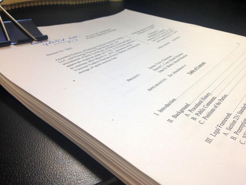 The Public Service Board's 98-page ruling was released Friday, March 28, 2014.