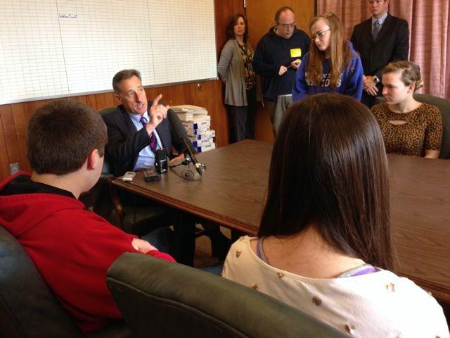 Governor Peter Shumlin speaks to students at Mount Anthony Union High School in Bennington.