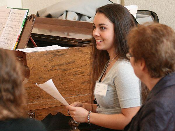 April's Student Composer Johna Saltsman in rehearsal.