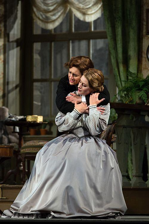 "Juliane Banse as Zdenka and Malin Byström as the title character of Strauss's ""Arabella."""