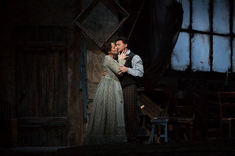 "Anita Hartig in her Met debut as Mimì and Vittorio Grigolo as Rodolfo in Puccini's ""La Bohème"" on March 19, 2014."