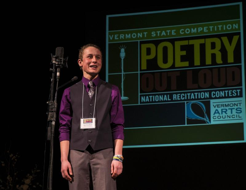 Sam Boudreau performing at the Poetry Out Loud State Semi-finals. Boudreau will compete in the National Championshop in Washington, D.C. April 29th.