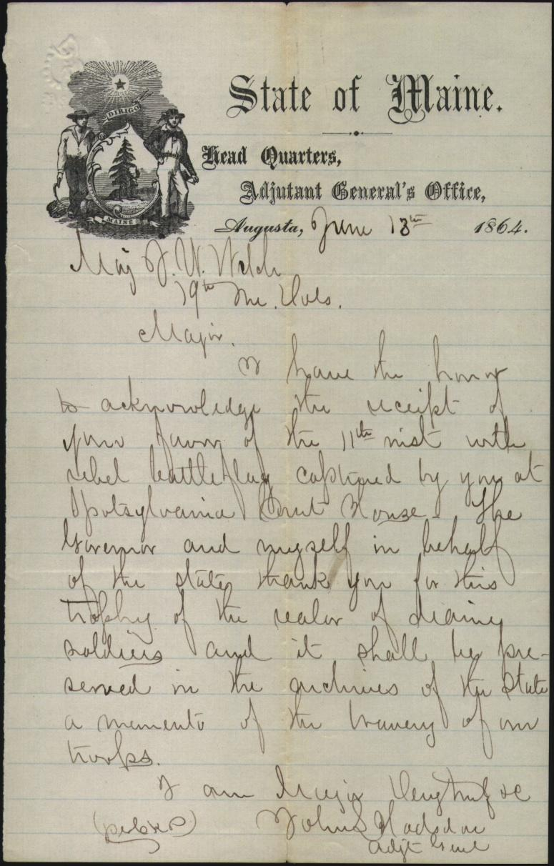 letter from maine adjutant general thanking major welch for the flag