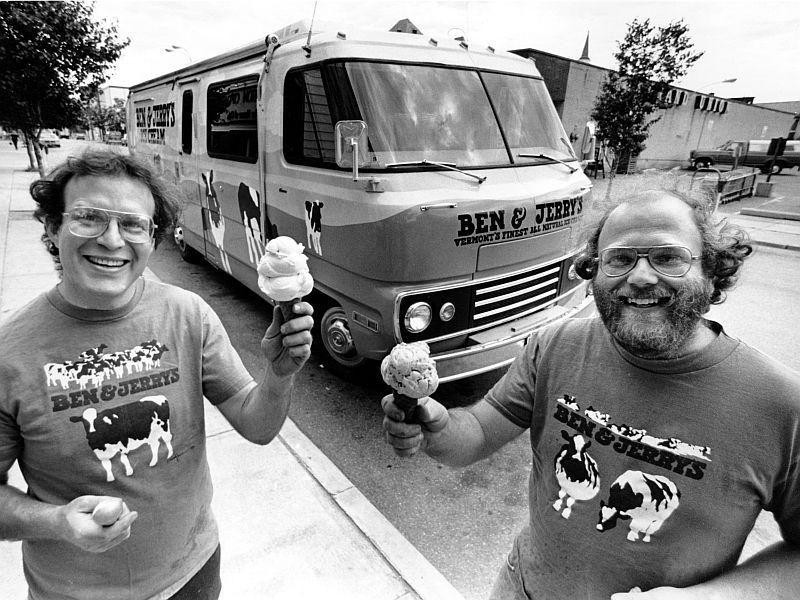 In 1987, Ben & Jerry served up ice cream from the Cowmobile.