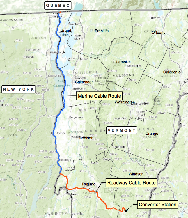 A map of the proposed route of the New England Clean Power Link.