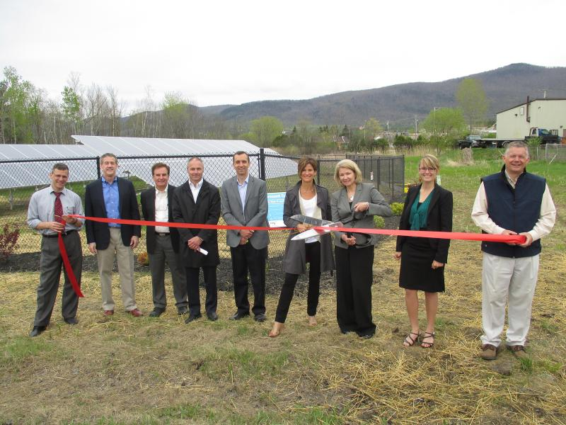 Officials from the City of Rutland, groSolar, NRG Energy and Green Mountain Power were on hand for this week's ribbon cutting ceremony for a community solar project in Rutland.