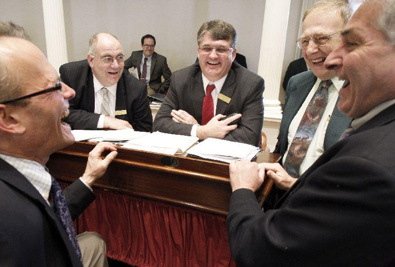 Rep. Tom Koch announced Tuesday that he would not seek another term. The longtime lawmaker is pictured here in May 2013, second from right. Also pictured, from left: Rep. Willem Jewett, Rep. Brian Savage, Rep. Don Turner and Rep. Robert Bouchard.