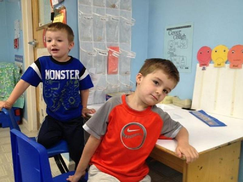 Chase Robinson and Cayden Blodgett, preschoolers, at Lyndonville's Head Start Program.