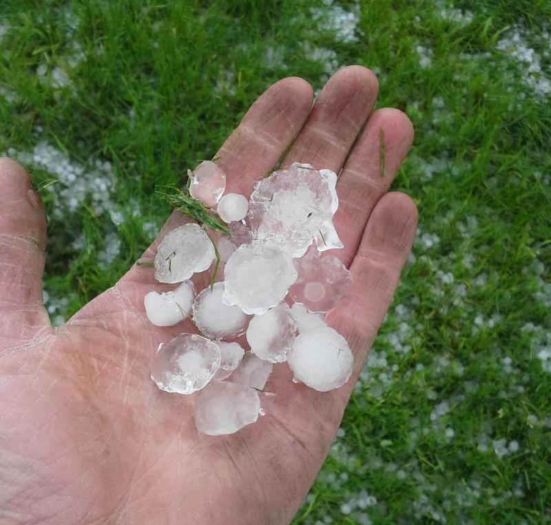 Hail the size of ice cubes fell down on Addison this afternoon as a severe storm system moved through central and southern Vermont.