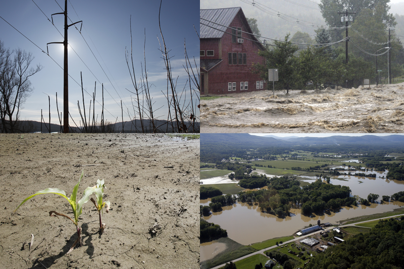 The regional forecast focuses on, among other things, extreme precipitation. Clockwise from upper left: VELCO lines during a 2012 heat wave; Irene flooding in Waitsfield; 2011 flooding in Rutland; a damaged Williston cornfield in 2013.