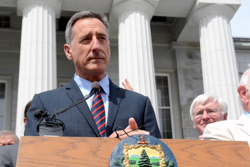 Gov. Peter Shumlin speaks in front of the Statehouse on May 8, 2014 before signing Vermont's GMO labeling bill into law. Shumlin says he's pleased that the U.S. Senate rejected an effort to overturn the law.