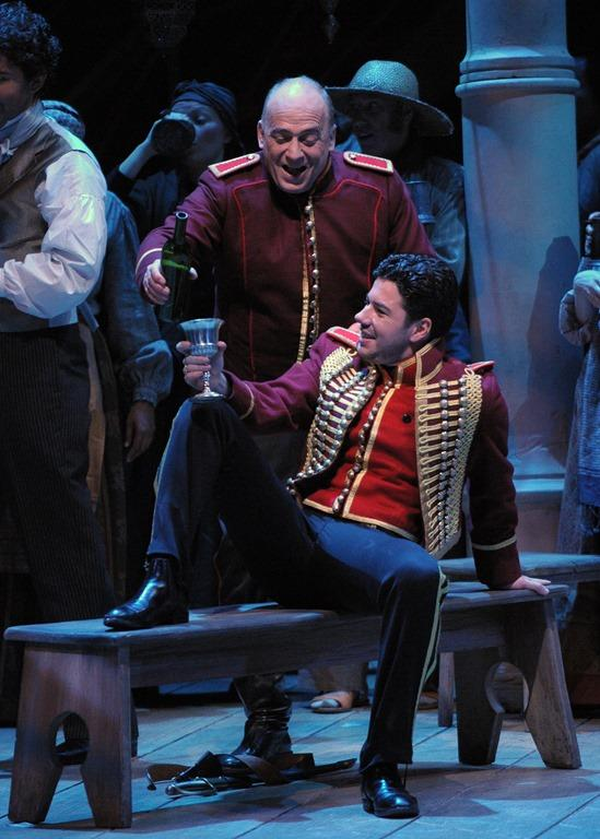 "Falk Struckmann as Iago and Antonio Poli as Cassio in the Lyric Opera Of Chicago's production of ""Otello"""