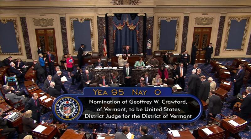This screenshot, provided by Sen. Patrick Leahy's office, shows the final vote count for the confirmation of Geoffrey Crawford.