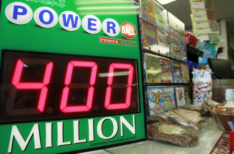 A sign shows the estimated jackpot for the Powerball drawing, Tuesday, Aug. 6, 2013, in Montpelier, Vt.