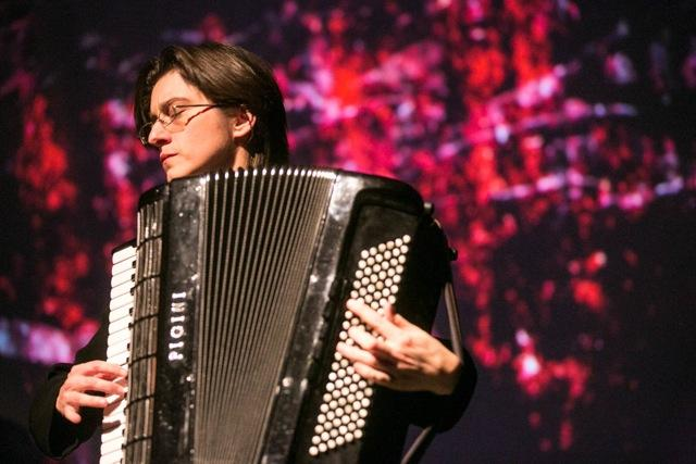 "Accordionist and composer Merima Kljuco, who developed and performed ""The Sarajevo Haggadah: Music of the Book,"" performs in Boston. The show returns to Putney on Saturday."