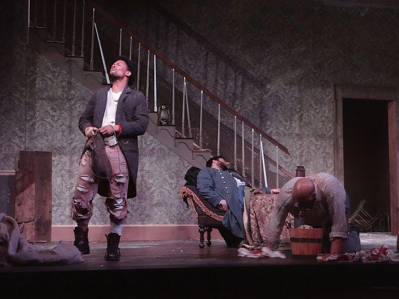"Calvin Dutton, Michael Simpson and Brian Anthony Wilson in the Dorset Theatre Festival production of ""The Whipping Man."""