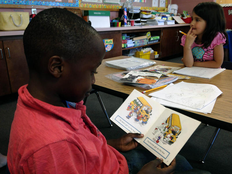 Jamal Wargu reads aloud in his kindergarten room at JFK Elementary School in Winooski.