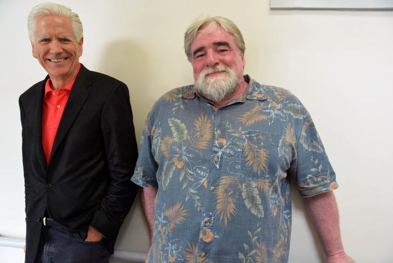 Todd Lockwood (left) created the Herb Lockwood Prize which went to Middlebury actor and educator Steve Small (right).
