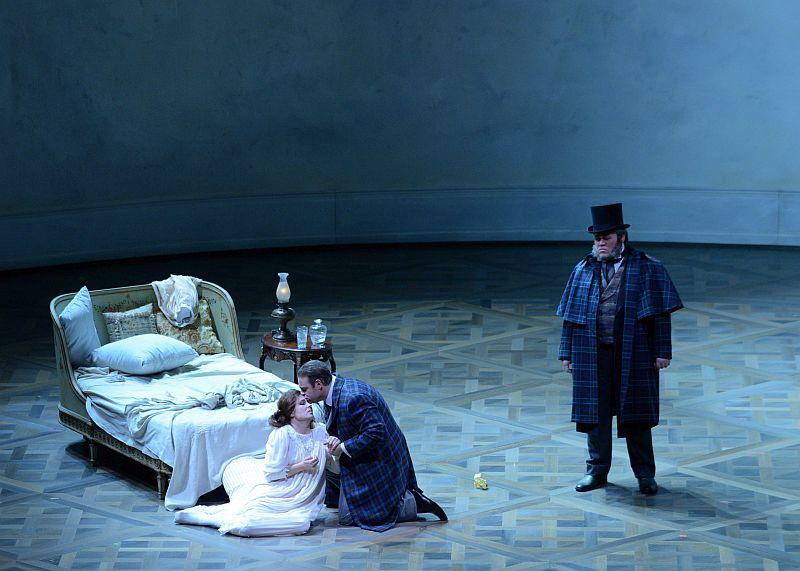 "Joseph Calleja, Marina Rebeka and Quinn Kelsey in the Lyric Opera Of Chicago's ""La Traviata"""