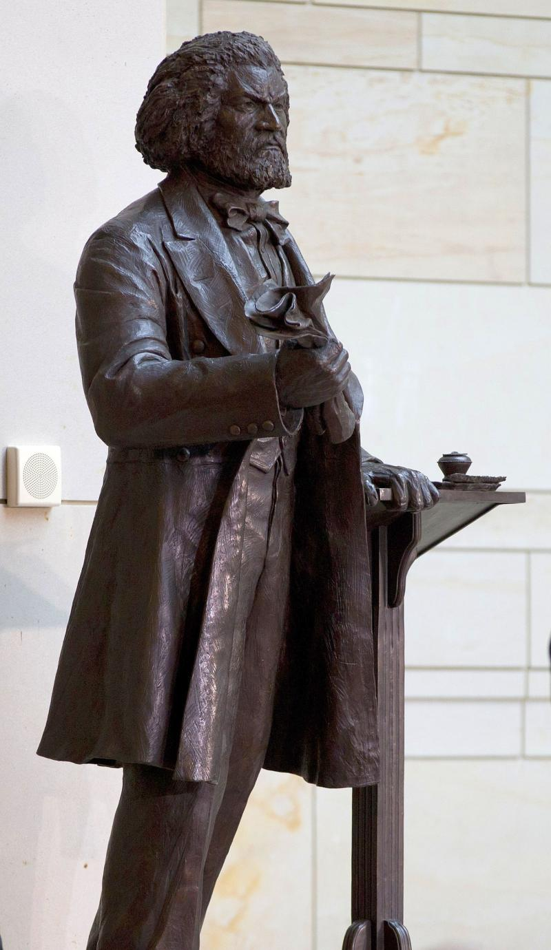 A statue of Frederick Douglass in the Emancipation Hall of the United States Visitor Center on Capitol Hill in Washington, Wednesday, June 19, 2013. The bronze statue of Douglass is by Maryland artist Steve Weitzman.