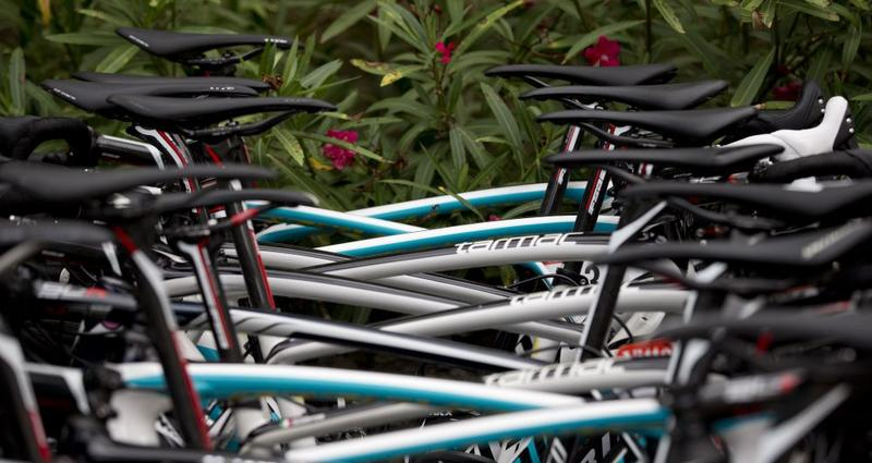 The Astana team bicycles are lined up for maintenance on the second rest day of the Tour de France cycling race in Lignan-sur-Orb, southern France, Monday, July 21, 2014.