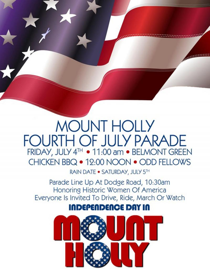 This poster shows the Fourth of July events happening in Mount Holly. Similar festivities are happening in cities and towns around Vermont.
