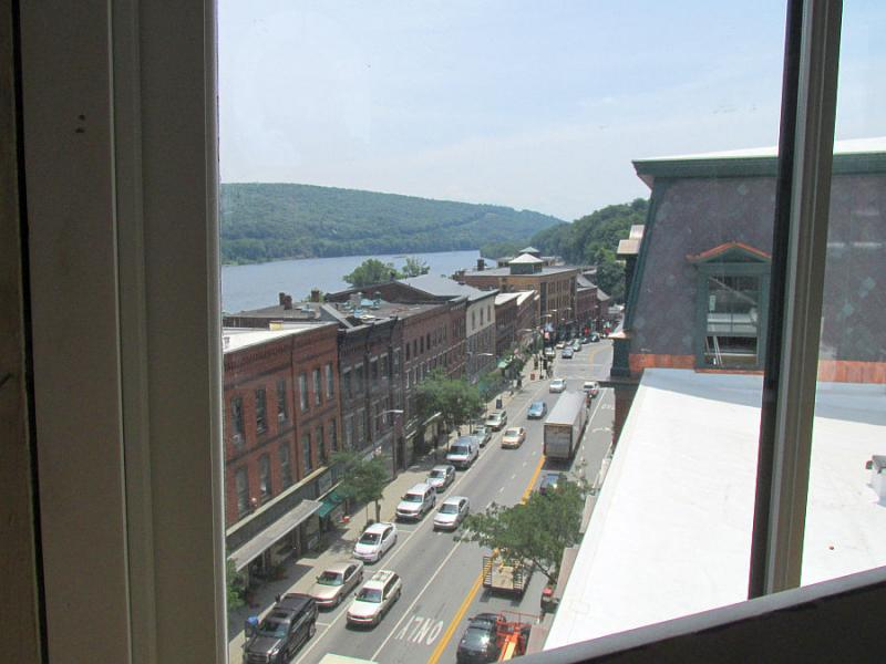 The building's big windows offer panoramic views.