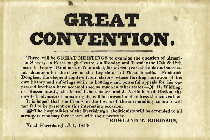 "The ""Great Convention"" broadside announcing Douglass's tour in Vermont."