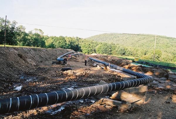 A new proposal calls for increased capacity of natural gas pipelines, like this one in Canada. It also calls for new transmission lines to bring electricity into New England, most likely from hydropower facilities north of the border.