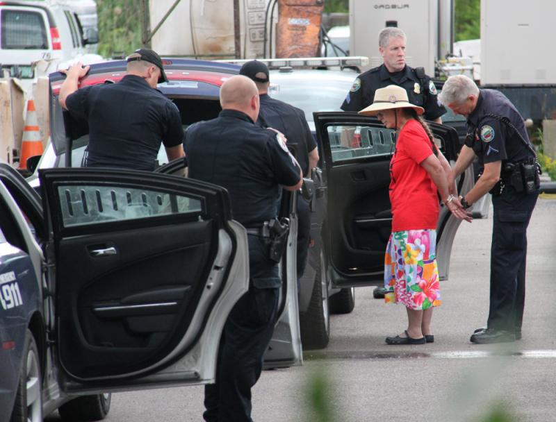 Jane Palmer of Monkton was arrested when she refused to leave the Vermont Gas Company building after close of business.