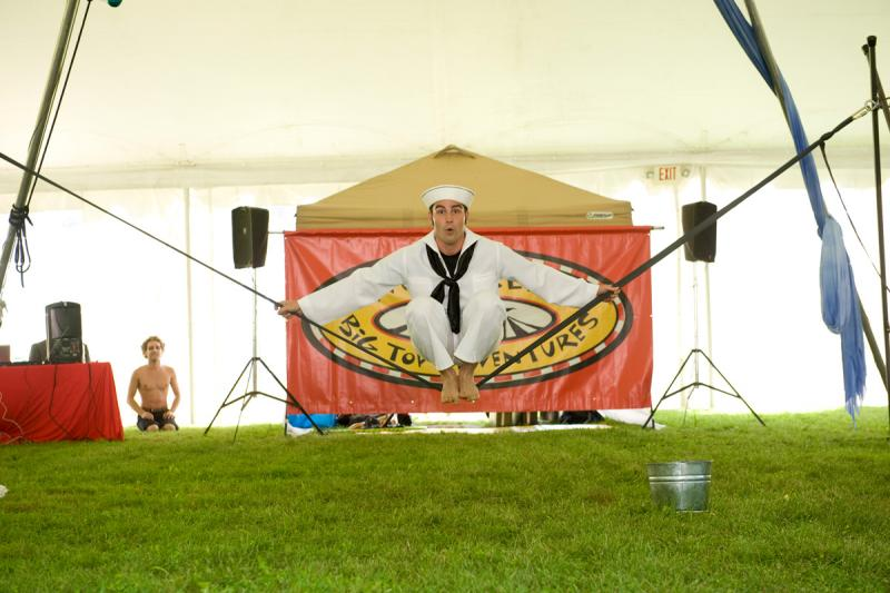An acrobat performs at Shelburne Museum's Circus-Palooza
