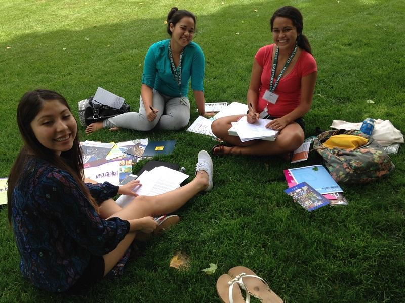 Monica Sekaquaptewa, from Arizona (left) relaxes with Shania Aki andKapi'i Alu, of Hawaii, at a college fair for Native Americans at Dartmouth College in Hanover.