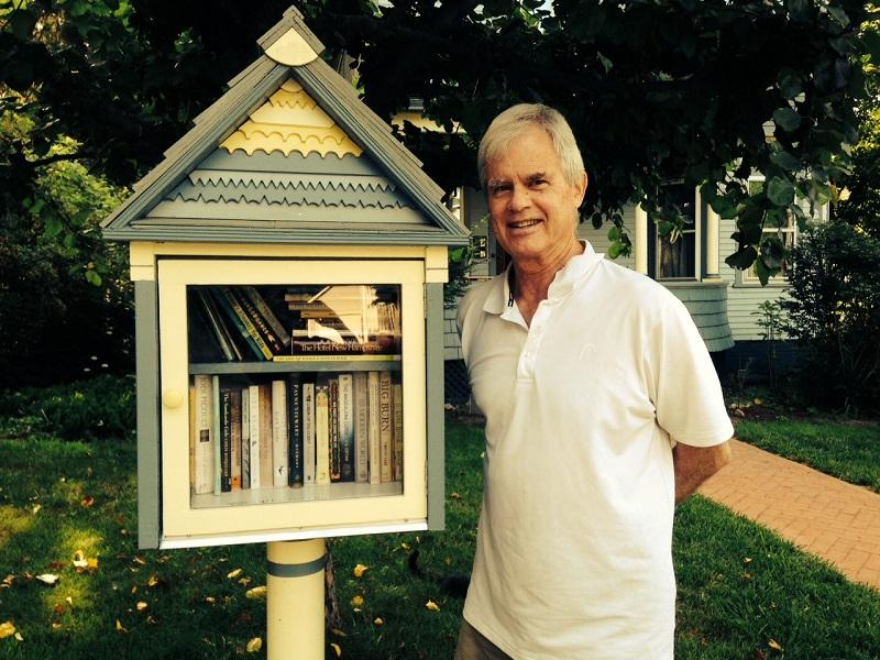 James Herold, of St. Johnsbury, has built a tiny free library in front of his house.