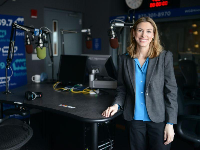 Kara Miller, host of Innovation Hub, stands in the studio at WGBH in Boston, where the program is produced. VPR will air the program Saturdays at 1 p.m. from August 4 through August 30.