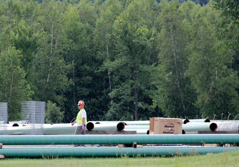 Vermont Gas prepared to build its pipeline by staging equipment in this Williston yard. The company has canceled its plans for Phase II of the pipeline project, which would have brought natural gas under Lake Champlain to International Paper in New York.