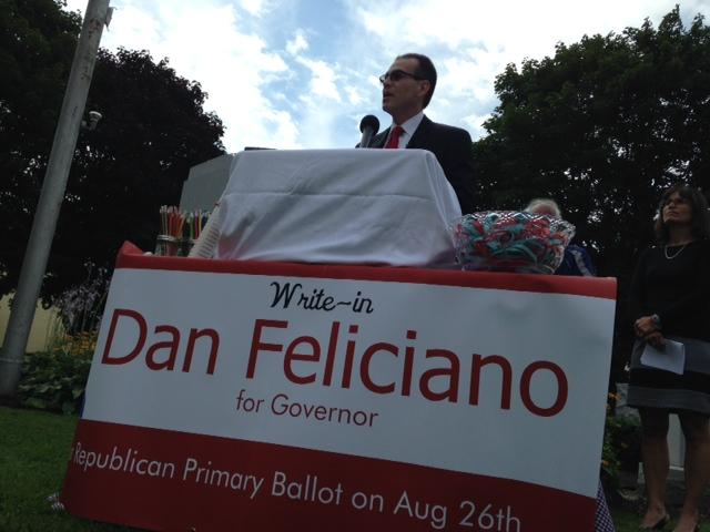 Libertarian gubernatorial candidate Dan Feliciano is mounting a write-in campaign for the Republican nomination in Tuesday's primary.