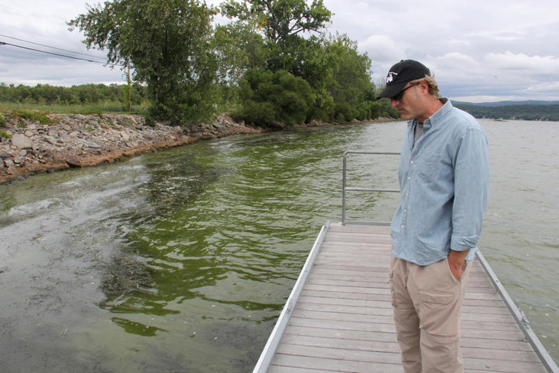 Conservation Law Foundation Senior Attorney Chris Kilian, seen here observing a cyanobacteria bloom on St. Albans Bay in 2014, says state officials are allowing sewage plants to send more phosphorus into Lake Champlain instead of less.
