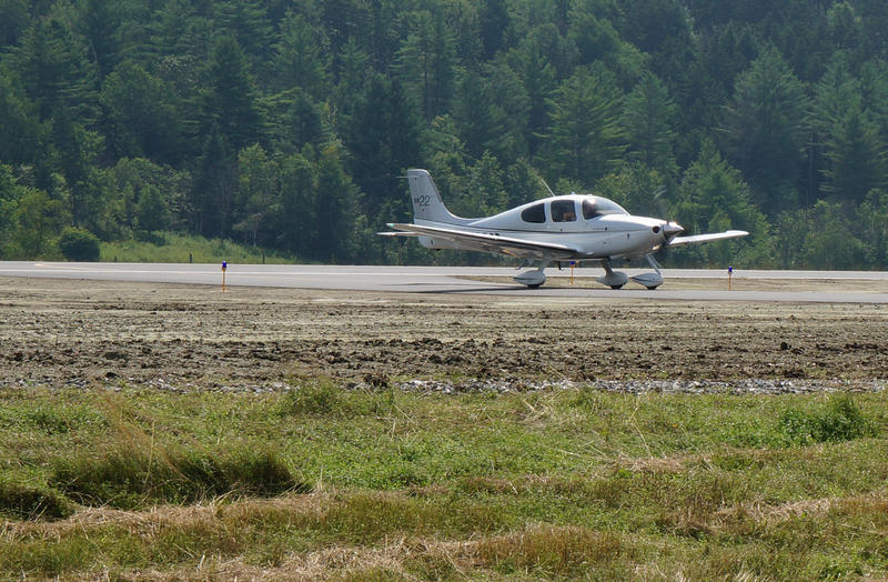 A plan taxies on the new Morrisville-Stowe State Airport runway.