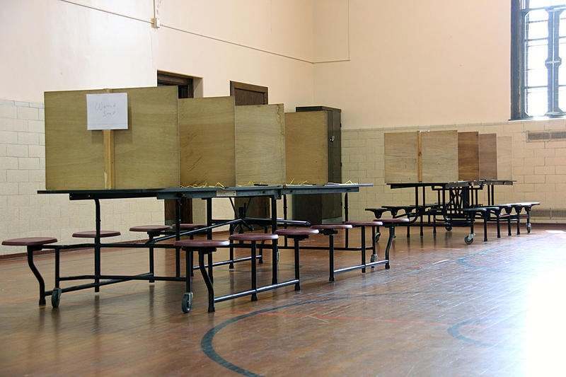 There were no voters to be seen at the Ward 1 polling station in Burlington Tuesday morning.